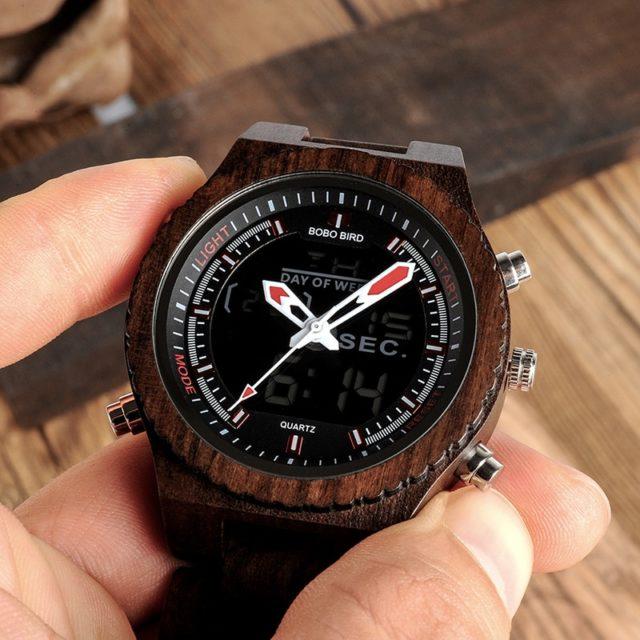 BOBO BIRD pánské hodinky, santal, dual display,2 druhy