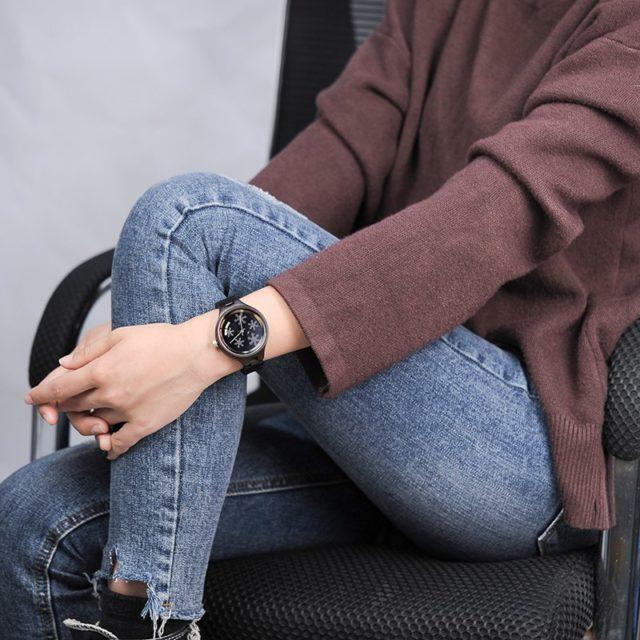 BOBO BIRDdámské hodinky, santalové dřevo , vločky