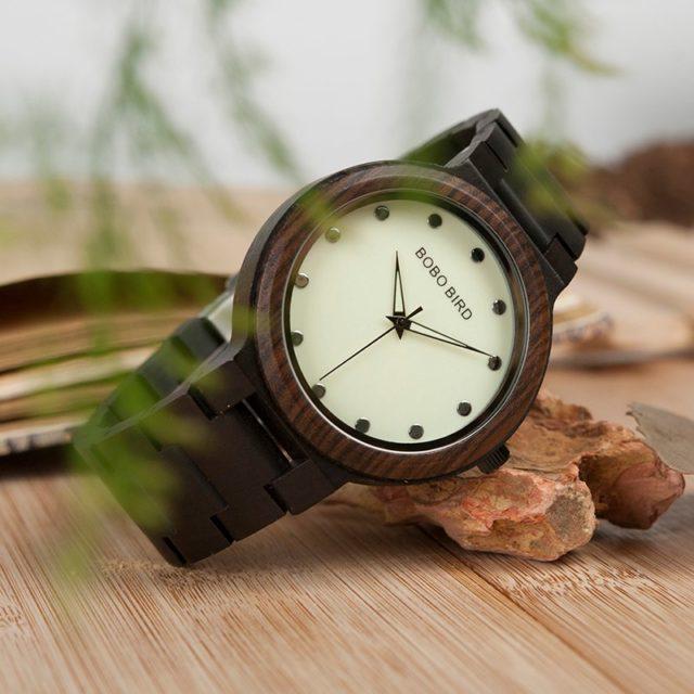 Fosforové dřevěné hodinky BOBO BIRD - Luminous