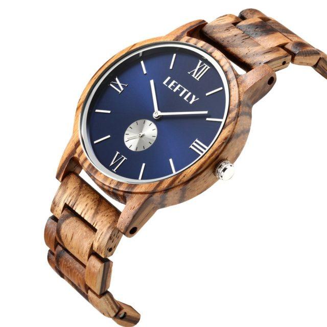 LEFTLY Men Wooden Watch Handmade Lightweight Quartz Movement Wristwatch