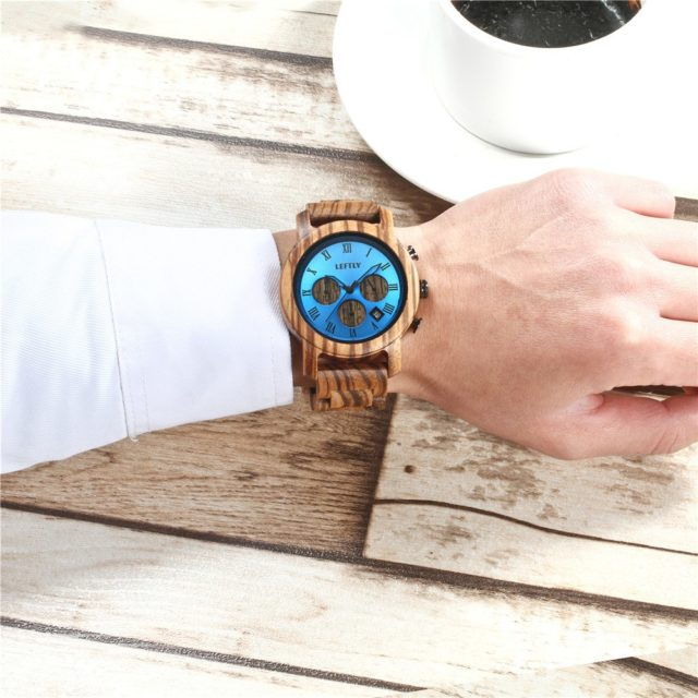 LEFTLY Mens Wooden Watch Quartz Movement lightweight Chronograph Function Wristwatch Zebra Wood