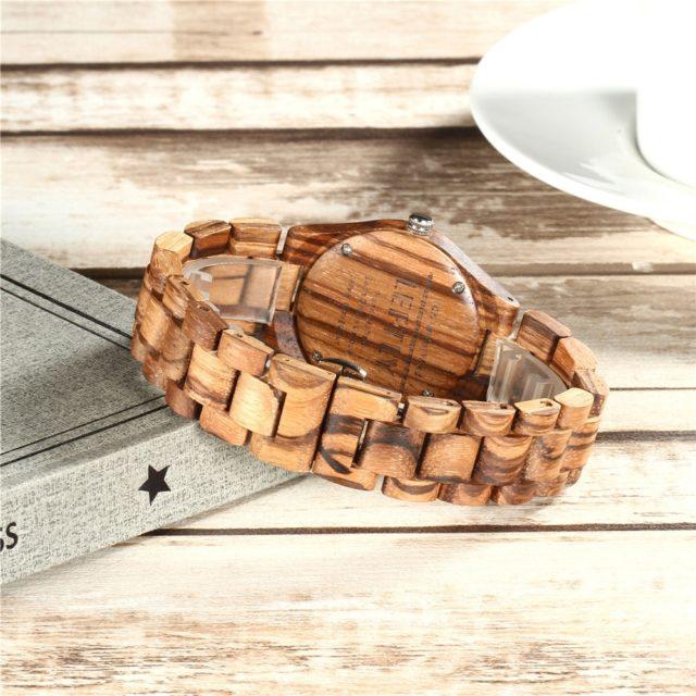 LEFTLY Women Wooden Watch Quartz Movement Lightweight Casual Wristwatch