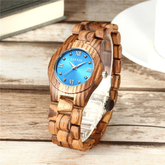 LEFTLY Women Wooden Watch Quartz Movement Lightweight Casual Wristwatch