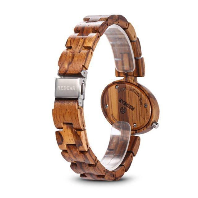 REDEAR 1680 Women Wooden Watches Wood Band Lightweight Quartz Wristwatch