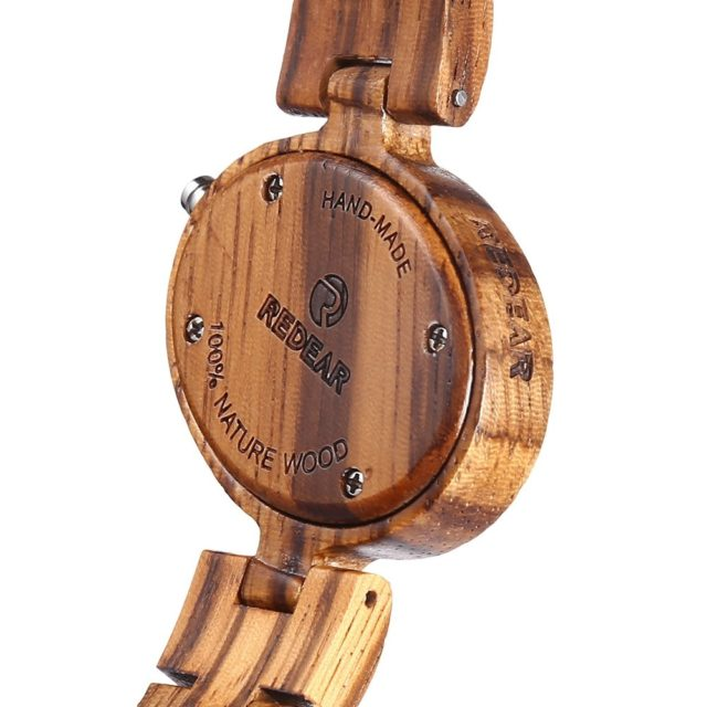 REDEAR 1680 Women Wooden Watches Wood Band Lightweight Quartz Wristwatch