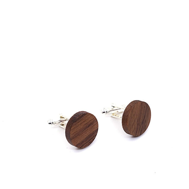 MAHOOSIVE Wooden Cufflinks France Wedding Groom Round Black Walnut Cufflinks For Mens shirt accessories Cuff Links men jewelry