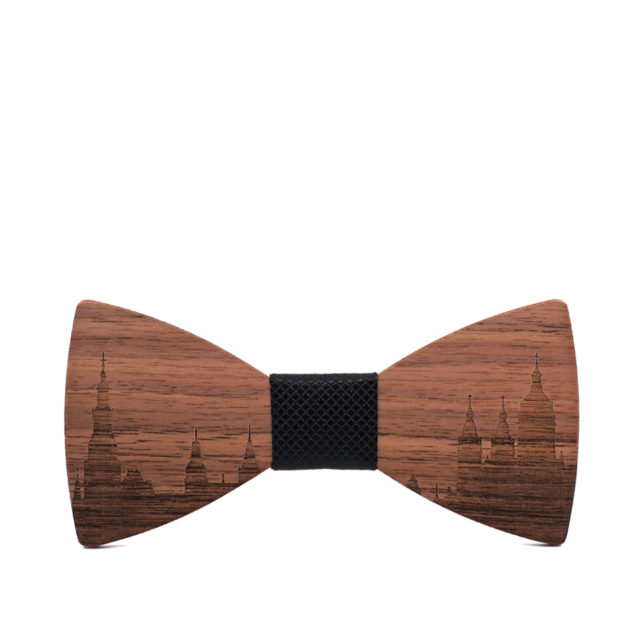 MAHOOSIVE Wooden Bowtie Gift Cravat Men Groom Necktie Wedding Suit Party AMSTERDAM Skyline Wood Bow Tie Gravata Butterfly