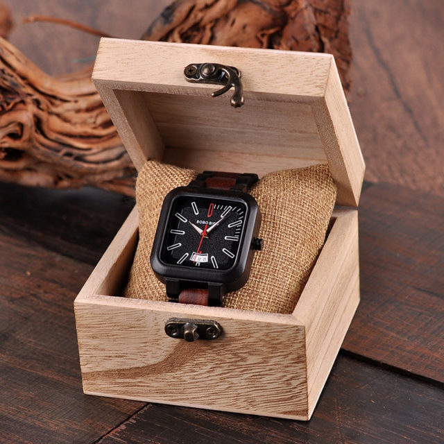 relogio masculino BOBO BIRD Watch Men Wooden Quartz Watch Mens Watches Top Brand Luxury Date Wristwatches Men's Gift W-R09