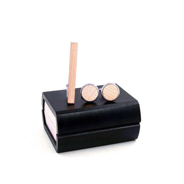 Wood Cufflinks Tie Clips gift Box Combo Set Cuff Links For Mens Relojes Gemelos Men Tie Pin Clips Fashion men Jewelry