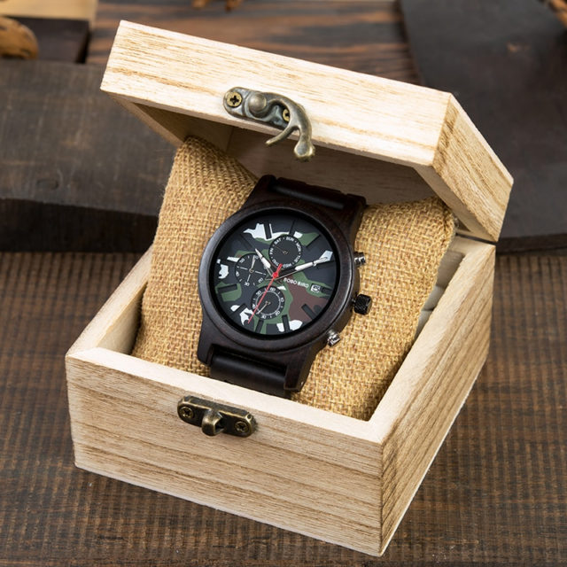 BOBO BIRD Chronograph Watch Military Men Army Green Wooden Watches Luxury Stainless Steel Strap Week Display