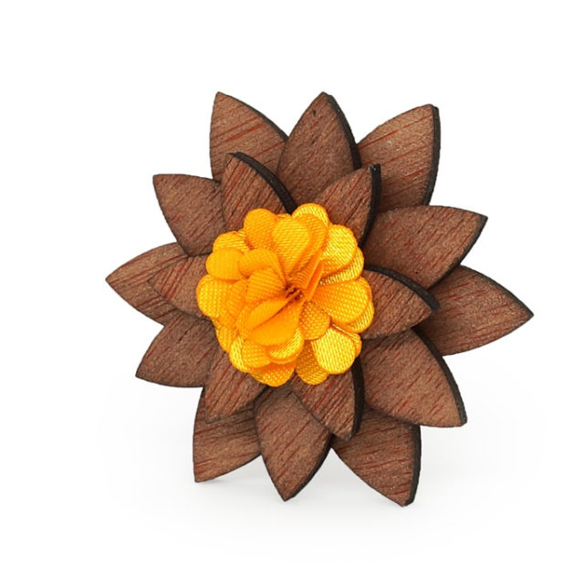 Antique Pink Color Flower Wooden wood Small Cute Brooch Lapel Pins for Groom men women