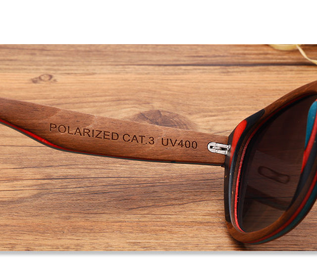BAVIRON 100% Real Wooden Sunglasses Colorful Women Wood Sun Glasses Men  Polaroid Anti Reflection High Quality Cool Glasses 0785
