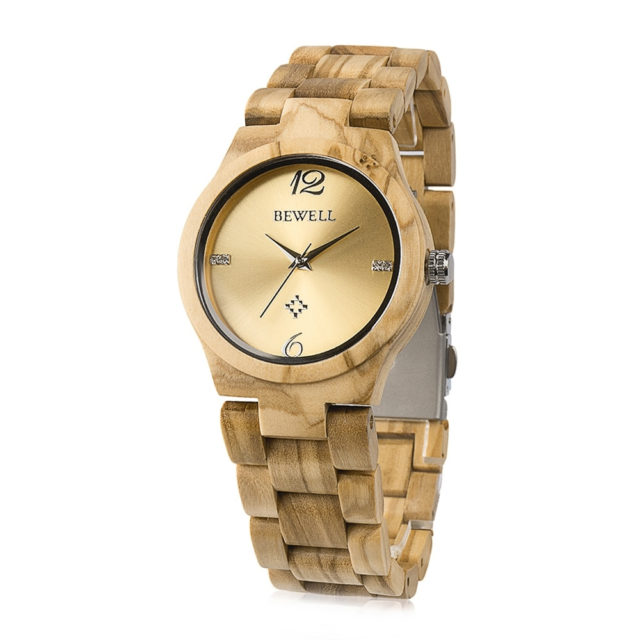 BEWELL ZS - W153A Female Wooden Watch Swirl Marks Dial Natural Wristwatch for Women