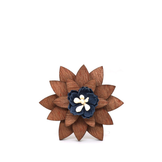 Mahoosive Fashion Brooch Pins  Flowers Wood Enamel Lapel Pin For Girl Women Wooden Broches Collar Badge Wedding decor