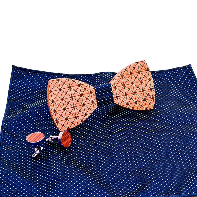 Wood Mens Bow Tie Plaid Butterfly Wooden Bow Ties For Men Tie Hanky Cufflink Set For Business Wedding Party