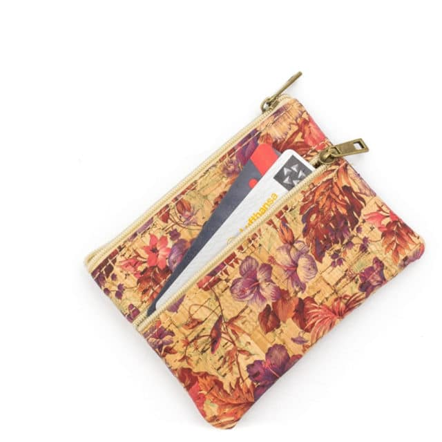 Cork bags for women Cork coin purse vegan purse Natural soft cork printed fabric handmade ladies small purse BAG-500 - BAG-500-D