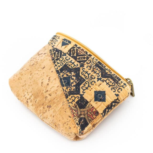 From Portugal natural cork purse with flower handmade coin purse coin bag vegan cork wallet Wooden vintage BAG-277-JKLSNOQMPR