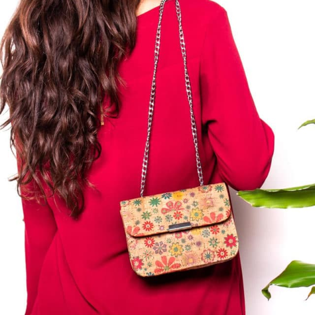 Natural cork bag with flower pattern antique silver chain Lady crossbody bag BAG-296-BCD - BAG-296-B