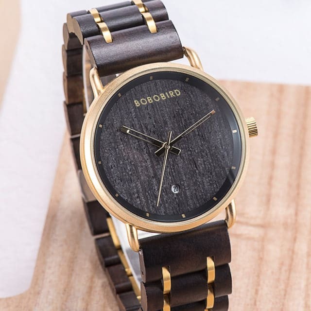 reloj hombre BOBO BIRD Date Display Watch for Men Top Brand Luxury Wrist Watches Wooden Gift Box Man Clock Fashion Dropshipping