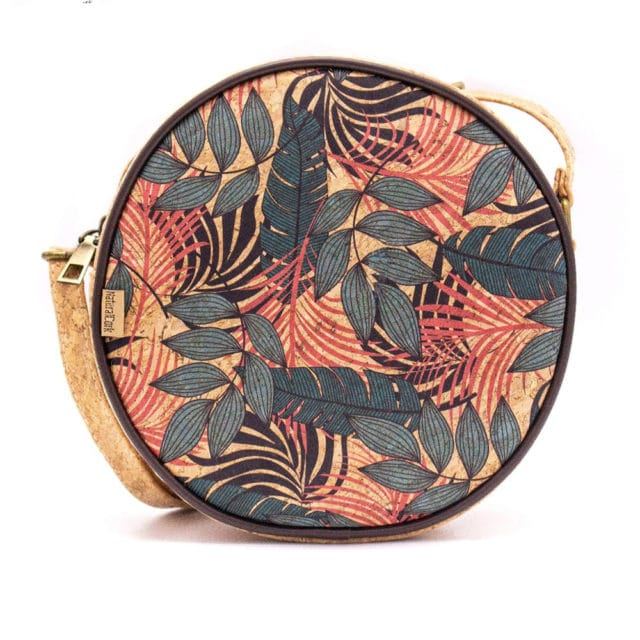 Natural Round Cork Crossbody Bag with Tropical Pattern Design | Made with Cork Fabric Bag-2022
