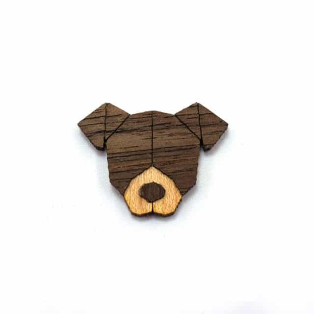 Animal Wooden Brooches Animal set Artist Pins and brooches Lovers jewelry Gift for lover Hat Backpack Accessories - DOG